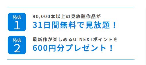 ユーネクストは登録で600ポイントもらえる